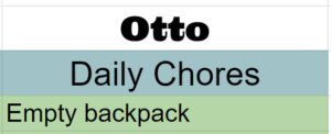 Chart with one chore to Empty Backpack