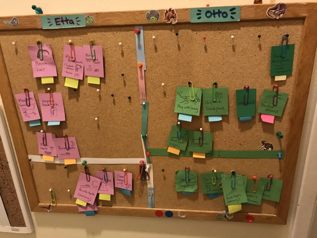 Bulletin board chore chart with many slips of paper color coded with sticky notes