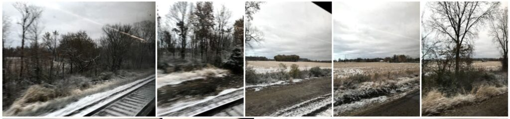 montage of snow from the train