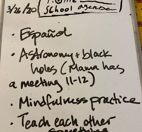 Whiteboard with home school agenda