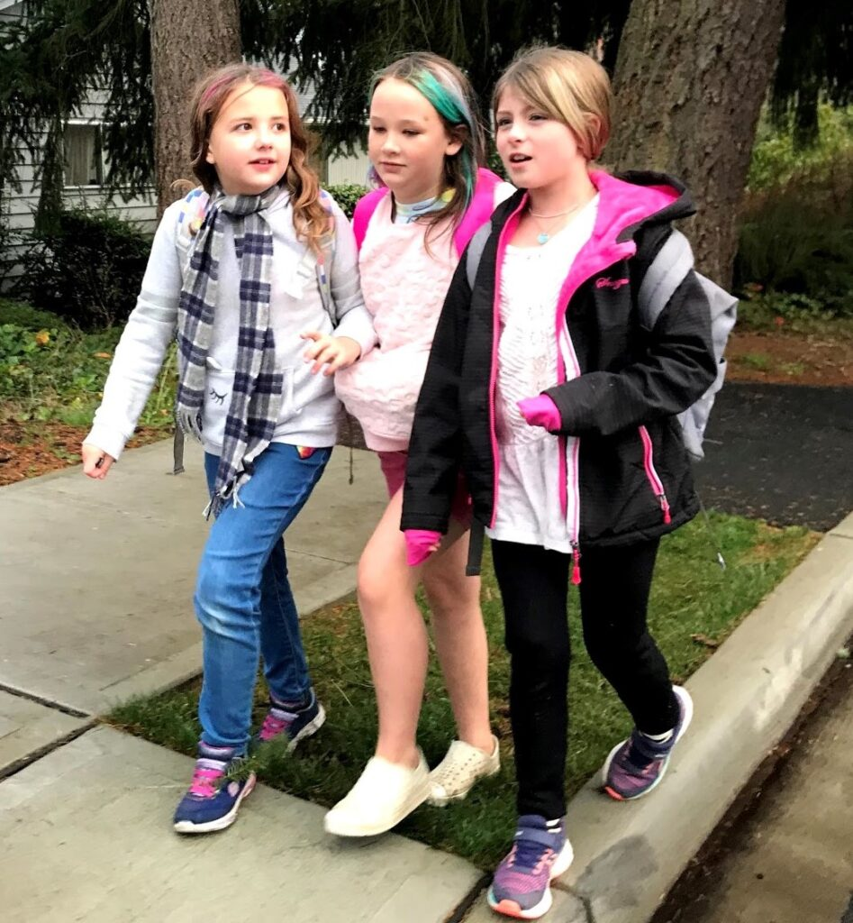 friends walking to school together